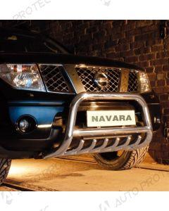 STEELER přední ochranný nerezový rám typ A – Nissan Navara D40 2.5